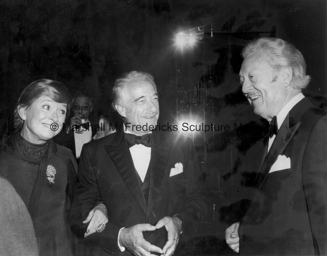 An unidentified woman, Victor Borge and Marshall Fredericks at the 1981 ICD Communications Award Dinner.jpg