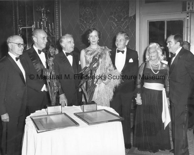 CD President Jeremiah Milbank, Jr.; award recipient Harry J. Gray, Chairman of United Technologies; Victor Borge; award recipient Princess Benedikte.jpg