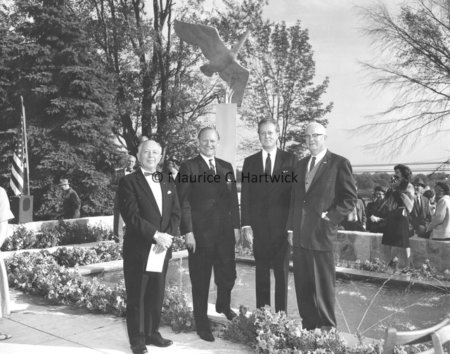 Danish Ambassador to the United States Count Knuth-Winterfeldt, Marshall Fredericks and two unidentified men with Nordic Swan and the Ugly Duckling.jpg