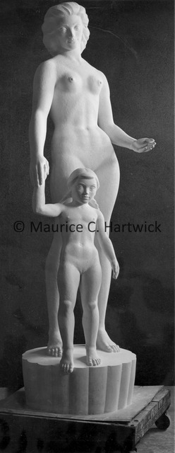 Front view of the full-scale plaster model for Two Sisters (Mother and Child).jpg