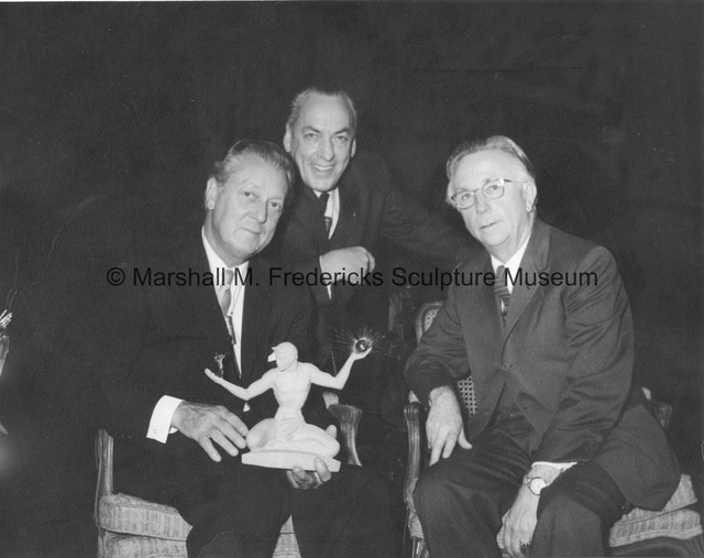 Marshall Fredericks, Hugh Breneman and Alden B. Dow with a small-scale The Spirit of Detroit.jpg