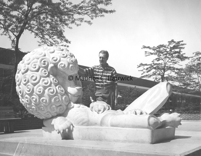 Marshall Fredericks with The Lion and Mouse at Eastland Center in Harper Woods, Michigan.jpg
