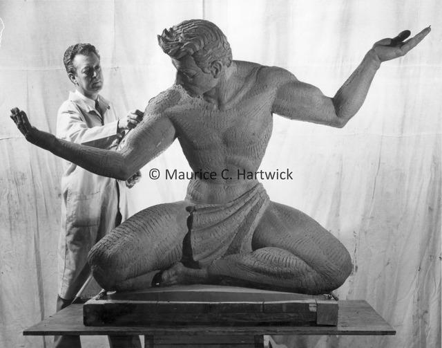 Marshall Fredericks working on the quarter-scale plasteline model for The Spirit of Detroit.jpg