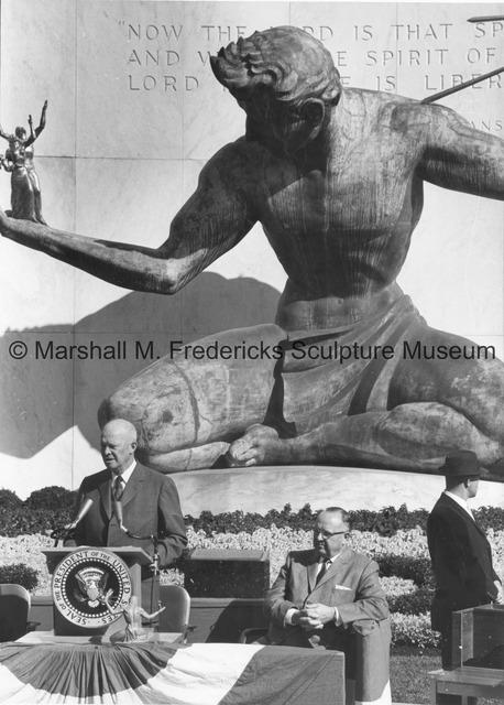 President Dwight D. Eisenhower speaking at The Spirit of Detroit.jpg