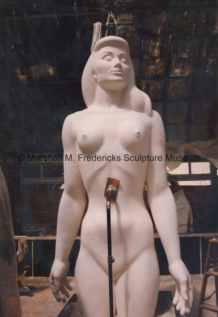 The full-scale plaster model of the female figure for Star Dream Fountain in the greenhouse studio.jpg