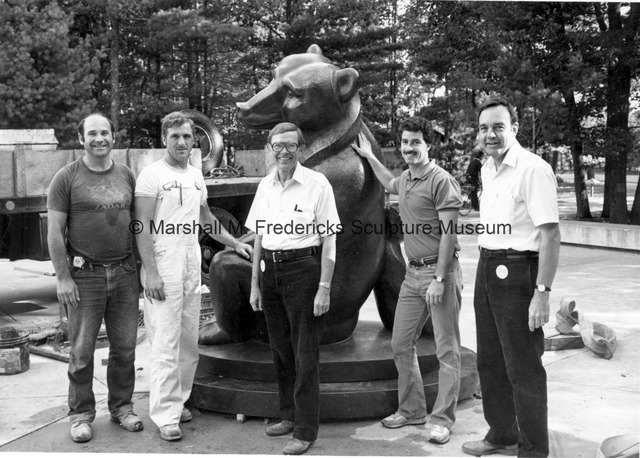 The installation crew, Roger Jacobi and Richard Fiegel with Two Bears at Interlochen Center for the Arts.jpg