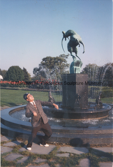 The Mayor of Toyota, Japan imitates Leaping Gazelle from the Levi L. Barbour Memorial Fountain.jpg