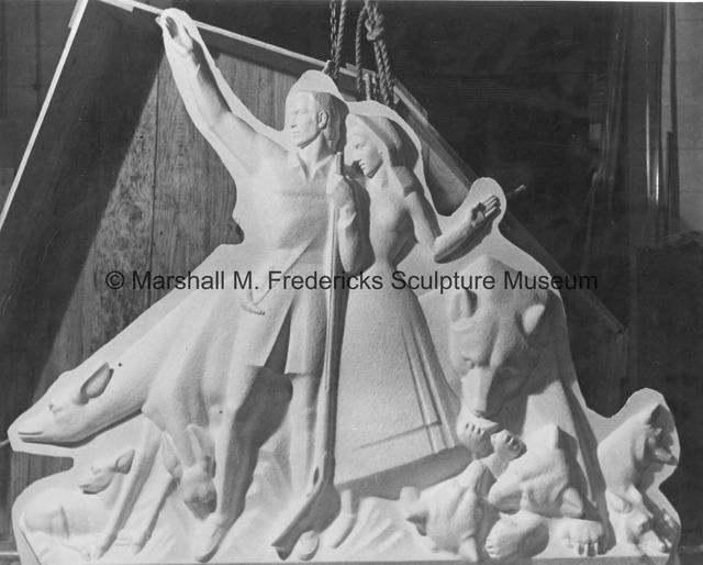 The plaster model for Pioneer Family and Animals of the Region for Spirit of Kentucky.jpg