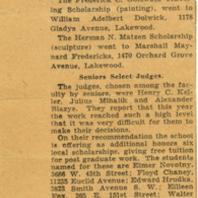 Win Scholarships at School of Art news clipping.jpg
