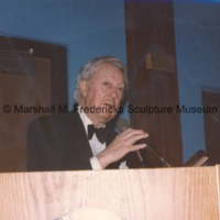 An unidentifed man at the podium during the American-Scandinavian Foundation party honoring Marshall Fredericks.tif