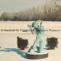 Bronze Persephone (Bacchante) in the snow covered Sculpture Garden of the Marshall M. Fredericks Sculpture Museum.tif