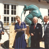 Chris Steffensen, Queen Margrethe II, Marshall Fredericks and Wener Valeur-Jensen with Leaping Gazelle at Marselisborg Castle.tif