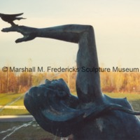 Close-up of bronze Night from Night and Day Fountain outside of the Marshall M. Fredericks Sculpture Museum.tif