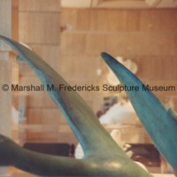 Close-up of full-scale bronze Flying Wild Geese in the Marshall M. Fredericks Sculpture Museum.tif