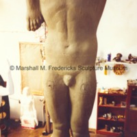 Close-up of the plasteline model of the male figure for Star Dream Fountain.tif