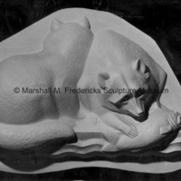 Close-up of the plaster model for Raccoons for Spirit of Kentucky.tif