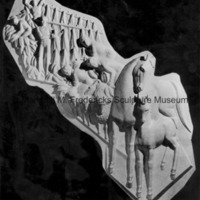 Close-up of the plaster model for Thoroughbreds, Sheep and Tobacco Farmers for Spirit of Kentucky.jpg