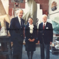 Danish Ambassador to the U.S. Peter P. Dyvig, his wife Karen and Marshall Fredericks pose together in the Royal Oak studio.tif