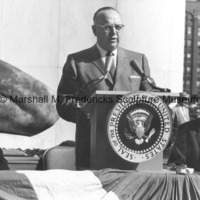 Detroit Mayor Louis C. Miriani delivers a speech in front of The Spirit of Detroit.jpg
