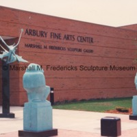 Entrance to the Arbury Fine Arts CenterMarshall M. Fredericks Sculpture Museum with Flying Pterodactyls, Male Baboon and Female Baboon outside.tif
