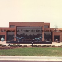 Exterior of the Marshall M. Fredericks Scultpure Museum with The Boy and Bear, Night and Day Fountain, The Lion and Mouse and Two Sisters.tif