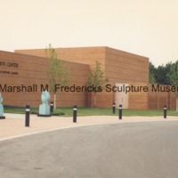 Flying Pterodactyls, Male Baboon and Female Baboon in front of the entrance of the Marshall M. Fredericks Sculpture Museum.tif