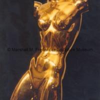 Front view of polished bronze Torso of Dancer against a black background.tif