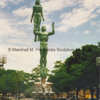 Front view of Star Dream Fountain in Barbara Hallman Plaza in Royal Oak, Michigna - 1997.tif