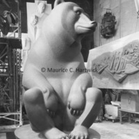 Front view of the full-scale plasteline model for Two Bears in the studio2.jpg