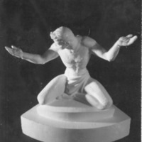 Front view of the small-scale plaster model of The Spirit of Detroit.tif
