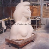 Frontside view of a portion of the plaster model of the female figure for Star Dream Fountain.tif