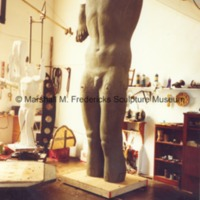 Frontside view of the plasteline model of the male figure for Star Dream Fountain.tif