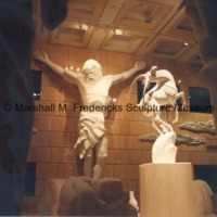 Full-scale models of Christ on the Cross and Leaping Gazelle from the Levi L. Barbour Memorial Fountain in the Marshall M. Fredericks Sculpture Museum.tif