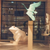 Full-scale plaster model of The Friendly Frog and bronze Nordic Swan and Ugly Duckling in the Marshall M. Fredericks Sculpture Museum.tif
