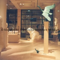 Full-scale plaster models of Sir Winston Churchill Memorial, The Friendly Frog and Nordic Swan and the Ugly Duckling in the Marshall M. Fredericks Sculpture Museum.tif