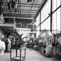 Interior of Marshall Fredericks' Royal Oak studio with plasteline and plaster models.jpg