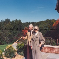 Marshall and Rosalind Fredericks at a private residence during the installation of The Thinker.tif