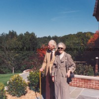 Marshall and Rosalind Fredericks on the terrace of a private residence during the installation of The Thinker.tif
