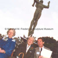 Marshall and Rosalind Fredericks with an unidentified man at the dedication of Star Dream Fountain.jpg