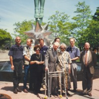 Marshall Fredericks, Rosalind Fredericks, Scott Slocum, Michael Panhorst and others poses with Star Dream Fountain following its installation.tif