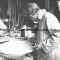Marshall Fredericks and an assistant working on the plaster model for an unidentified medal in the Royal Oak studio.tif