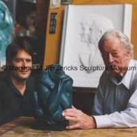 Marshall Fredericks and an unidentified man in Fredericks studio with The Thinker.tif