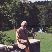 Marshall Fredericks at a private residence during the installation of The Thinker with Flying Wild Geese in the background.tif