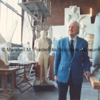 Marshall Fredericks in his Royal Oak studio with Black Elk Homage to the Great Spirit, Victory Eagle (American Eagle) and Henry Ford.tif