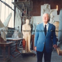Marshall Fredericks poses in his Royal Oak studio.tif
