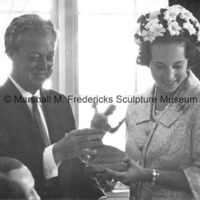 Marshall Fredericks presents Princess Benedikte of Denmark with a small-scale bronze of The Spirit of Detroit at the DIADEM banquet in Copenhagen.jpg