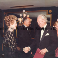 Marshall Fredericks shakes hands with First Lady Nancy Reagan at the ICD Awards Dinner.jpg