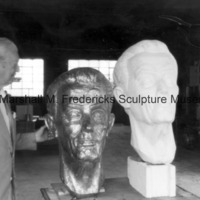 Marshall Fredericks with the bronze and plaster Floyd Starr.tif