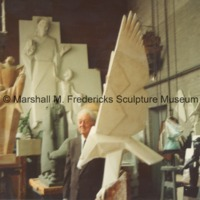 Marshall Fredericks with the plaster model for Victory Eagle (American Eagle).tif