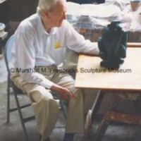 Marshall Fredericks with The Thinker in his studio.tif